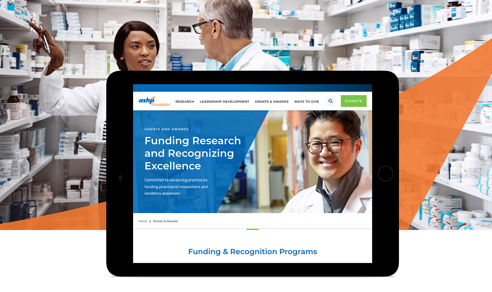 ASHP Foundation site on tablet and pharmacists in the background