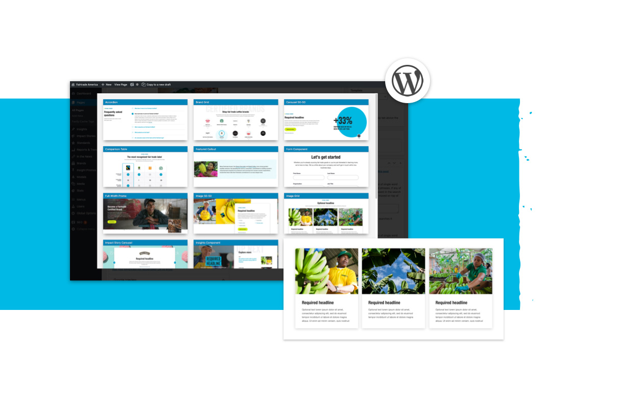 Wordpress UI model laptop