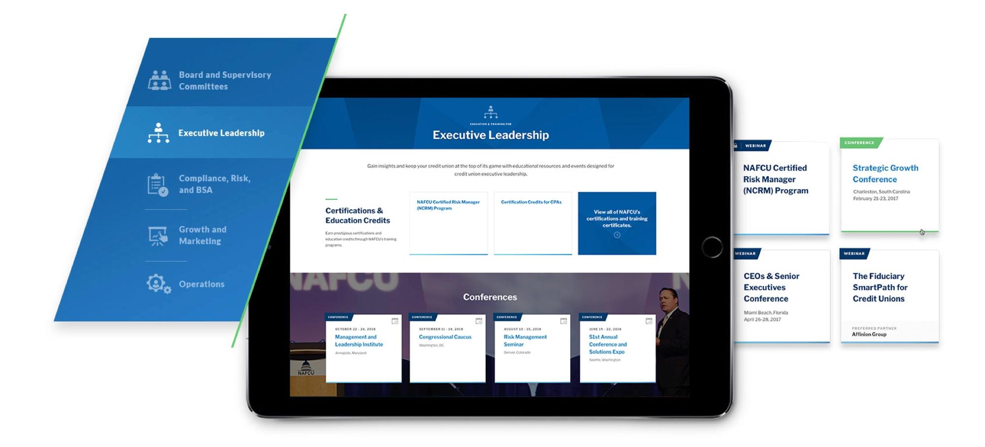 NAFCU tablet and menu site view