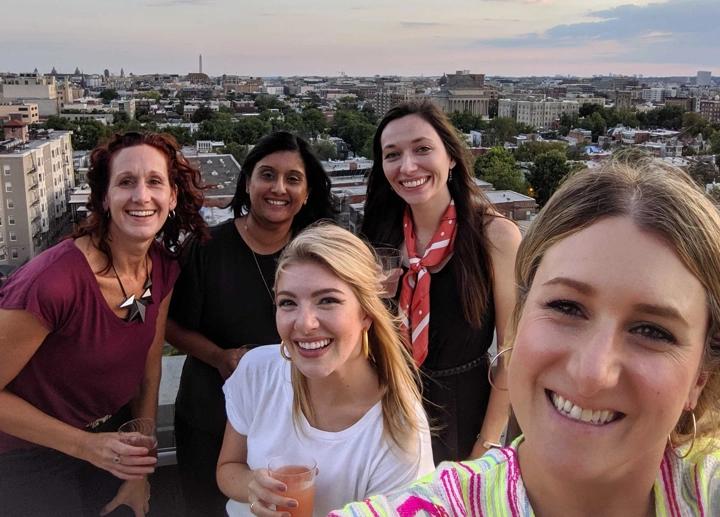 IS retreat on rooftop: Kye Tiernan, Jessica Finn, Alpa Patel, Lindsay Cheyne, Hannah Leigh